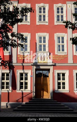 Mémoire historique dans l'ancien hôtel de ville, la Thuringe, se vautrer, historische Erinnerung am Altes Rathaus Banque D'Images