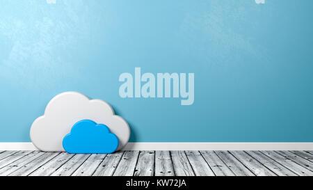 Nuage Blanc Forme de symbole sur un plancher en bois contre le mur bleu avec Copyspace 3D Illustration Banque D'Images