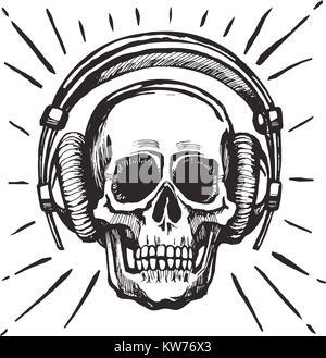 Crâne humain listening music Banque D'Images
