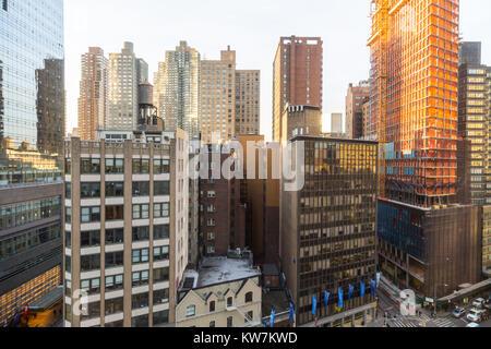 Vue sur l'upper west side de Manhattan d'un point de vue de hgh sur Broadway, NYC Banque D'Images
