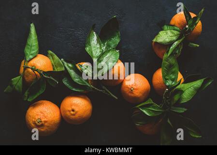 Mandarines ou clémentines avec feuille verte. Nature morte sur fond sombre. Vue d'en haut, l'image aux couleurs Banque D'Images