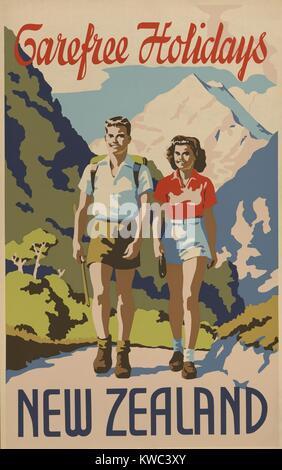 Des vacances sans souci en Nouvelle-Zélande. 1930 Billet affiche montre un jeune homme et femme randonnée dans les Banque D'Images
