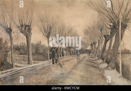 Road à Etten, par Vincent Van Gogh, 1881, dessin postimpressionniste néerlandais. Ce travail a été créé au cours Banque D'Images