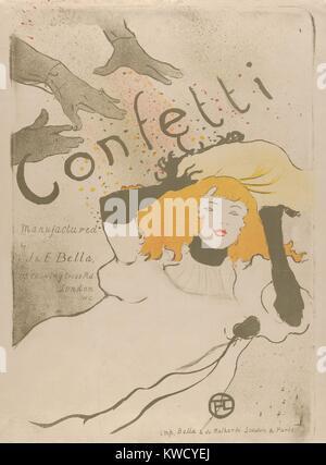 Confettis, par Henri de Toulouse-Lautrec, 1894, lithographie, postimpressionniste français. Il s'agit d'une affiche Banque D'Images