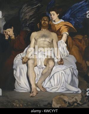 Le Christ mort avec des anges, par Edouard Manet, 1864, la peinture impressionniste français, huile sur toile (BSLOC Banque D'Images