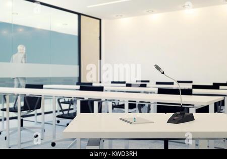L'intérieur moderne de l'entreprise salle de conférence avec écran vierge pour présentation, rendu 3D
