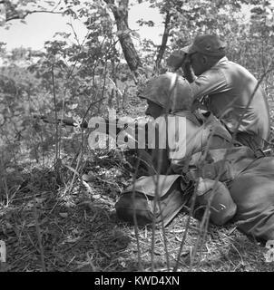 U.S. Marine sniper et spotter travailler ensemble à prendre l'ennemi en Corée. Guerre de Corée, 1950-1953. Date Banque D'Images