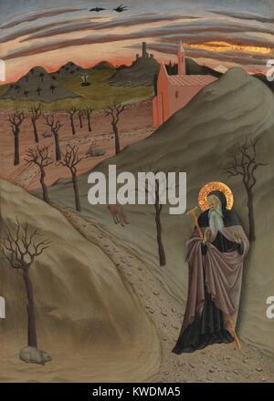 SAINT ANTOINE L'ABBÉ DANS LE DÉSERT, par l'Osservanza Master, 1435, la peinture italienne de la Renaissance. L'ermite Banque D'Images