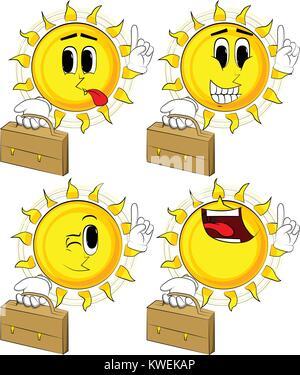 Sun Cartoon holding suitcase et de faire un point. Collection avec des visages heureux. Vecteur d'expressions définies. Banque D'Images