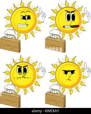 Sun Cartoon holding suitcase et de faire un point. Collection avec faces en colère. Vecteur d'expressions définies. Banque D'Images