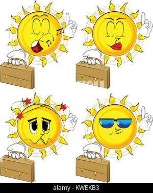 Sun Cartoon holding suitcase et de faire un point. Collection avec différentes expressions faciales. Vector set. Banque D'Images