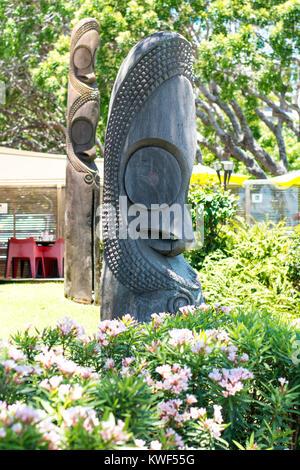 Sculpture en bois à Nouméa, Nouvelle-Calédonie Banque D'Images