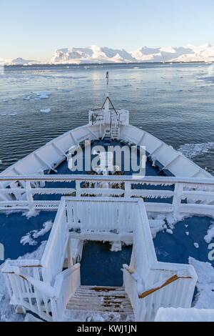 Couvert de glace; gréement navire à passagers Ocean Adventurer transporte les skieurs alpinisme à l'Antarctique; l'Île Rongé; Péninsule Arctowski
