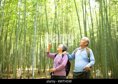 Senior Couple randonnées en forêt de bambou vert Banque D'Images