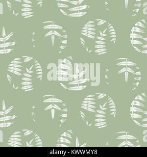 Les feuilles de fougère vert menthe transparente motif cercles vecteur. Banque D'Images