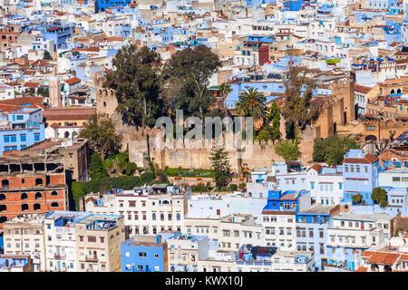 Forteresse Kasbah de Chefchaouen. Chefchaouen est une ville dans le nord-ouest du Maroc. Chefchaouen est connue Banque D'Images
