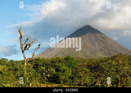 Volcan Arenal dans les nuages, Arenal Volcano National Park, province de Alajuela, Costa Rica Banque D'Images