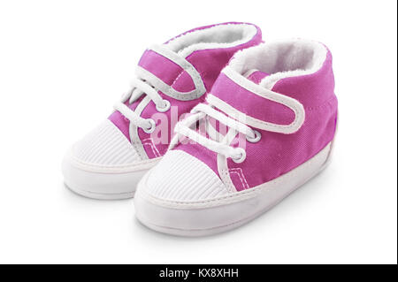 Chaussures bébé fille Rose isolé sur fond blanc Banque D'Images