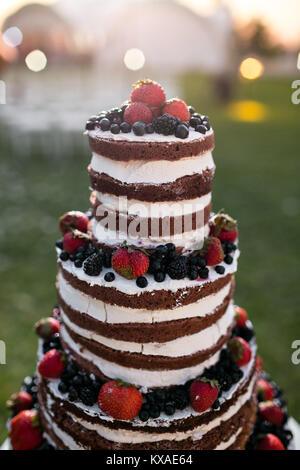 Gâteau de mariage à niveaux multiples ronde avec éponge, de crème, de confiture et de fruits rouges sur une base circulaire. Des bleuets frais et fraises