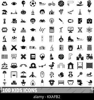 100 enfants icons set dans un style simple Banque D'Images