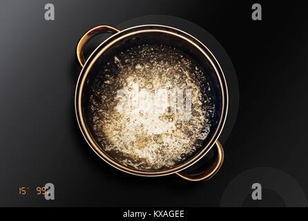 Dans une casserole d'eau bouillante que sur une table de cuisson à induction