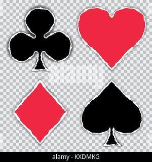 Papier déchiré en forme de symboles de carte rouge et noir, isolé sur un fond transparent - vector Banque D'Images