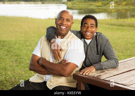 African American father and son. Banque D'Images