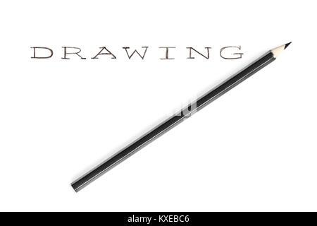 Avec un crayon à la main, dessin mot isolé sur fond blanc Banque D'Images