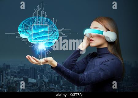 L'Intelligence Artificielle(IA) concept, rendu 3D, image abstraite Visual