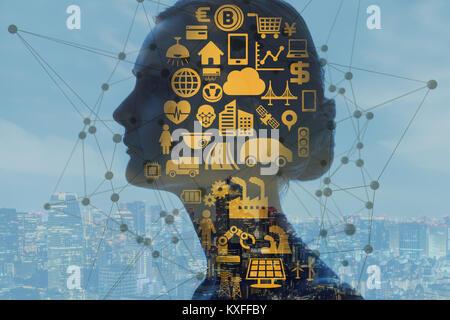 L'Intelligence Artificielle(IA) concept. Banque D'Images