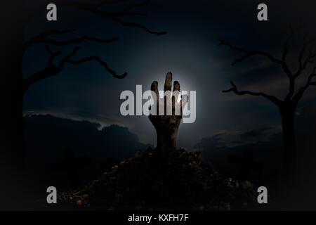 Les mains des zombies sortent de la tombe la nuit, plein d'esprit signe entouré d'arbres morts. Halloween concept. Banque D'Images