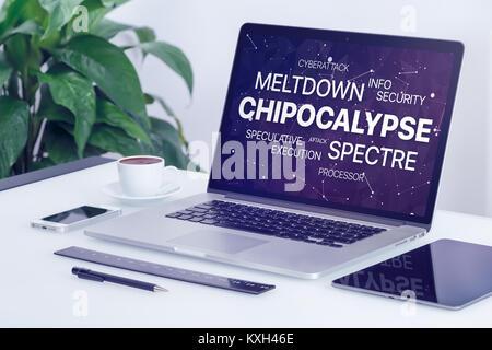 Concept Chipocalypse avec meltdown et spectre menace nuage de mots sur un écran d'ordinateur portable. Banque D'Images