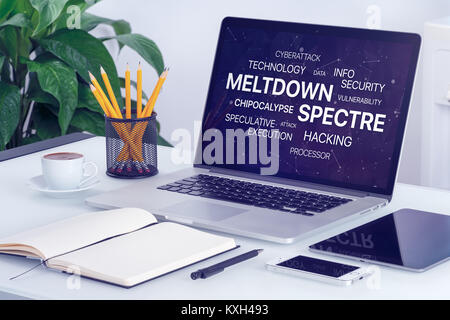 Meltdown et spectre menace concept sur l'écran du portable. Banque D'Images