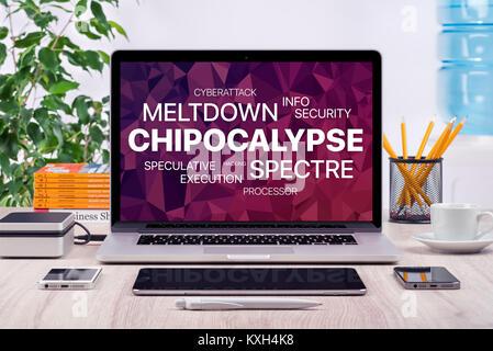 Concept Chipocalypse avec meltdown et spectre menace sur l'écran du portable de bureau. Banque D'Images
