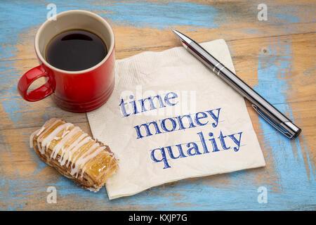 Temps, d'argent et de la gestion de la qualité de l'écriture - concept sur une serviette avec une tasse de café Banque D'Images