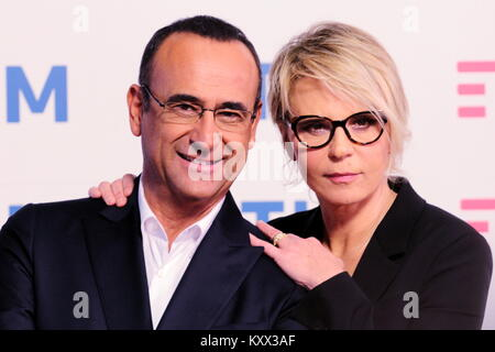 Carlo Conti e Maria De Filippi, photocall Festival di Sanremo 2017.Conferenza stampa presso toit Sala del Teatro Ariston.