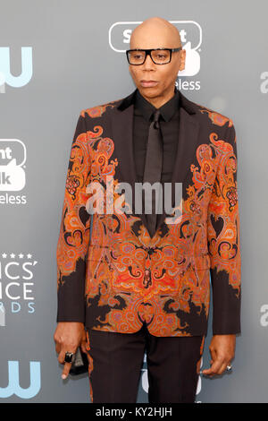 Santa Monica, USA. Jan 11, 2018. RuPaul assiste à la 23rd Annual Critics' Choice Awards au Barker Hangar le 11 janvier Banque D'Images