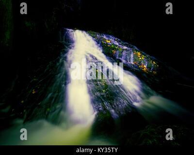 Peinture lumière nuit en cascade dans le ruisseau de l'automne. L'eau mousseuse floue sur rock moussues avec feuilles Banque D'Images