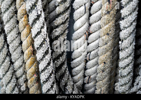 Corde nautique épais sur bateau/ferry essuyé avec de belles textures Banque D'Images