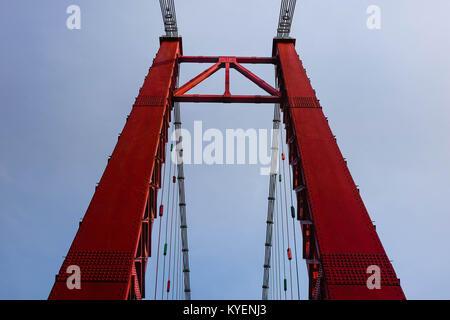 Vue symétrique Lakshman Jhula une chaîne bridge contre le ciel bleu. Banque D'Images