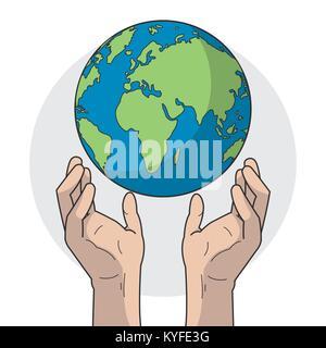 Planète et design mains Banque D'Images