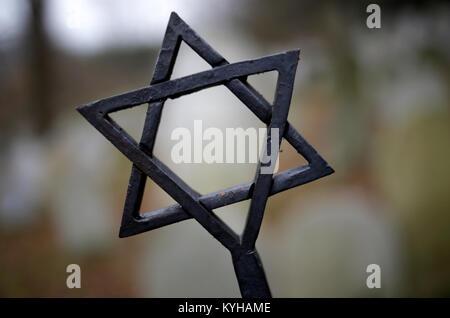 étoile De David Sur Une Tombe Dans Un Cimetière Juif Appelé