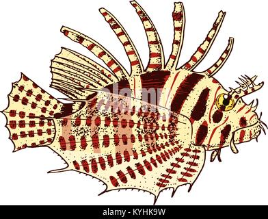 Créature de mer Poisson-papillon rouge gravé à la main. dans de vieux croquis, vintage style. milles marins ou marine, Banque D'Images