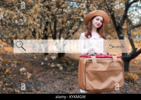Search bar sur l'arrière-plan photo floue d'une jeune fille avec leathe Banque D'Images