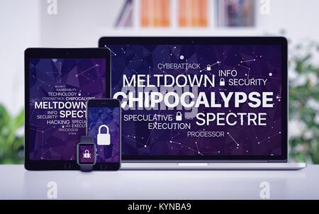 Concept Chipocalypse avec meltdown et spectre menace sur les écrans de divers dispositifs. Banque D'Images
