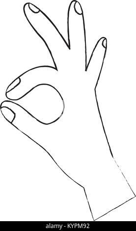 Main humaine montrant ok symbole les doigts Banque D'Images