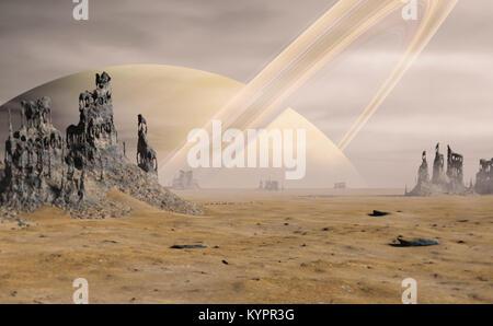 Paysage sur Titan, la plus grande lune de Saturne avec d