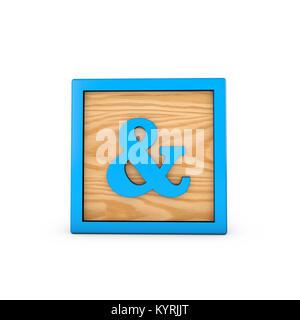 Jouet pour enfants wodden esperluette bloc alphabet. Le Rendu 3D Banque D'Images