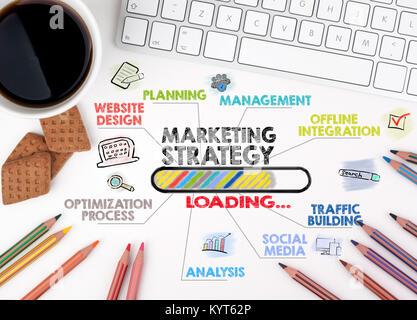 Stratégie marketing , concept d'entreprise. Carte avec des mots-clés et des icônes. White Bureau Bureau Banque D'Images