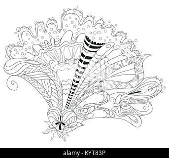 Style zentangle Flover aux lignes épurées pour un livre à colorier pour anti stress, t-shirt, tatouage et autres Banque D'Images